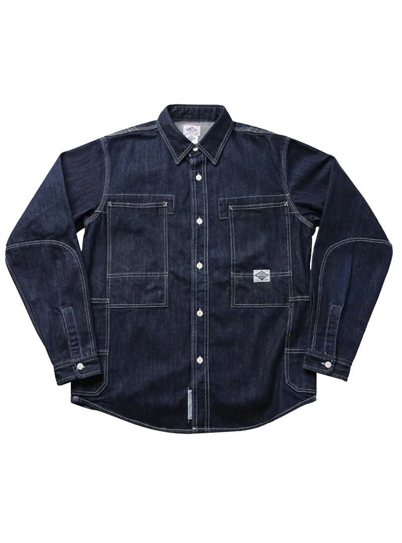 Heavy Primary Denim Cowboy Casual Long Sleeve Striped Shirt