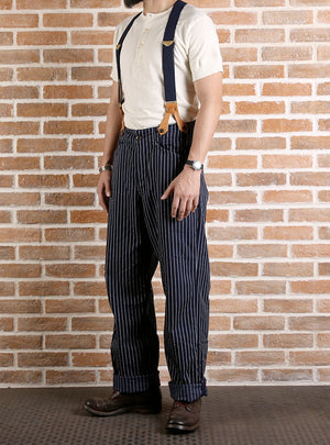 Lot 924 Deep Blue Striped Loose Waist Strap Overalls Trousers Pants