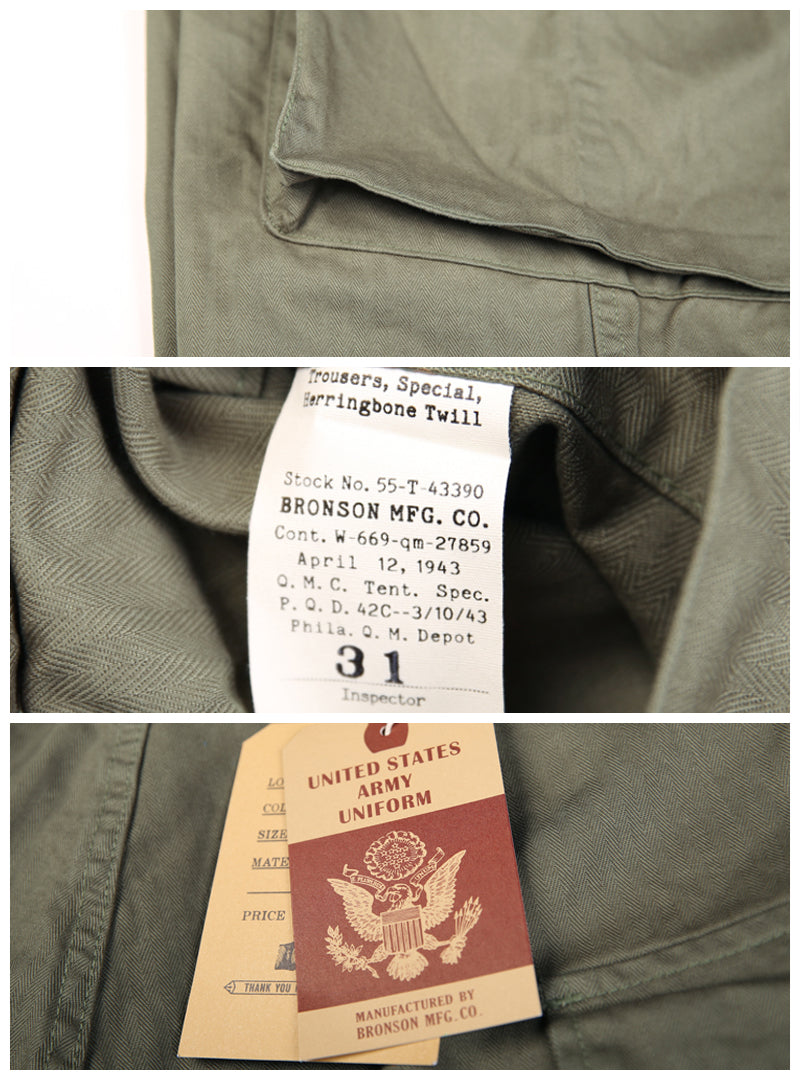 WWII US Army HBT Herringbone M42 Fatigue Combat Trousers Pants