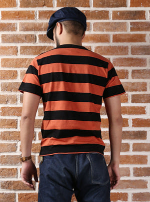 Wide Striped Short-Sleeved One Pocket Motorcycle T-Shirt