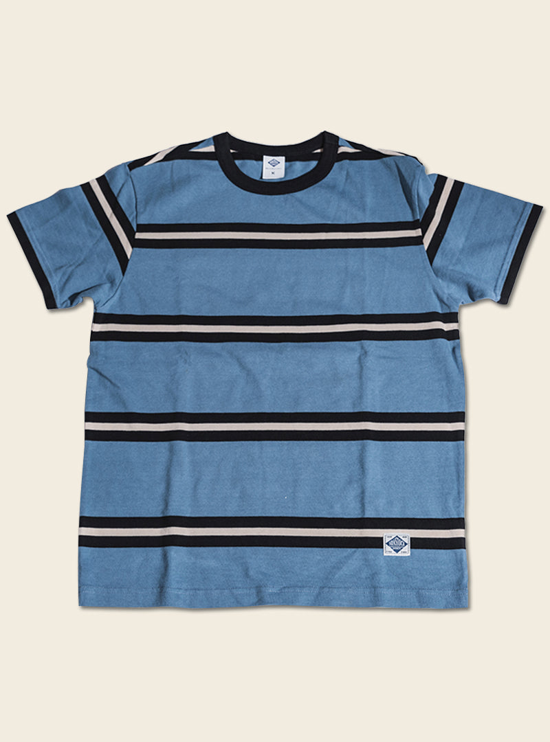 IVY Style Heavy Weight Wide Striped Short Sleeved T-Shirt