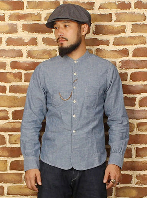 Snowflake Henley Collar Chambray Work Shirts