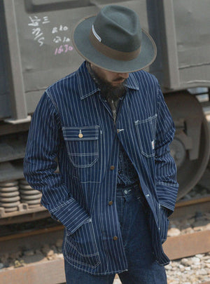 1900S Indigo Stripe Railroader Workwear Jacket