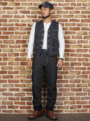 Wabash Railroad Workers Striped Denim Vest