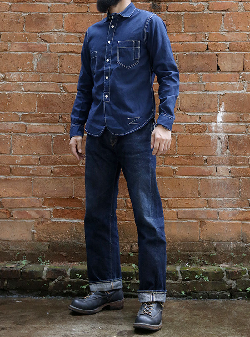 Blue Denim Selvage Fabric Railway Worker Shirts
