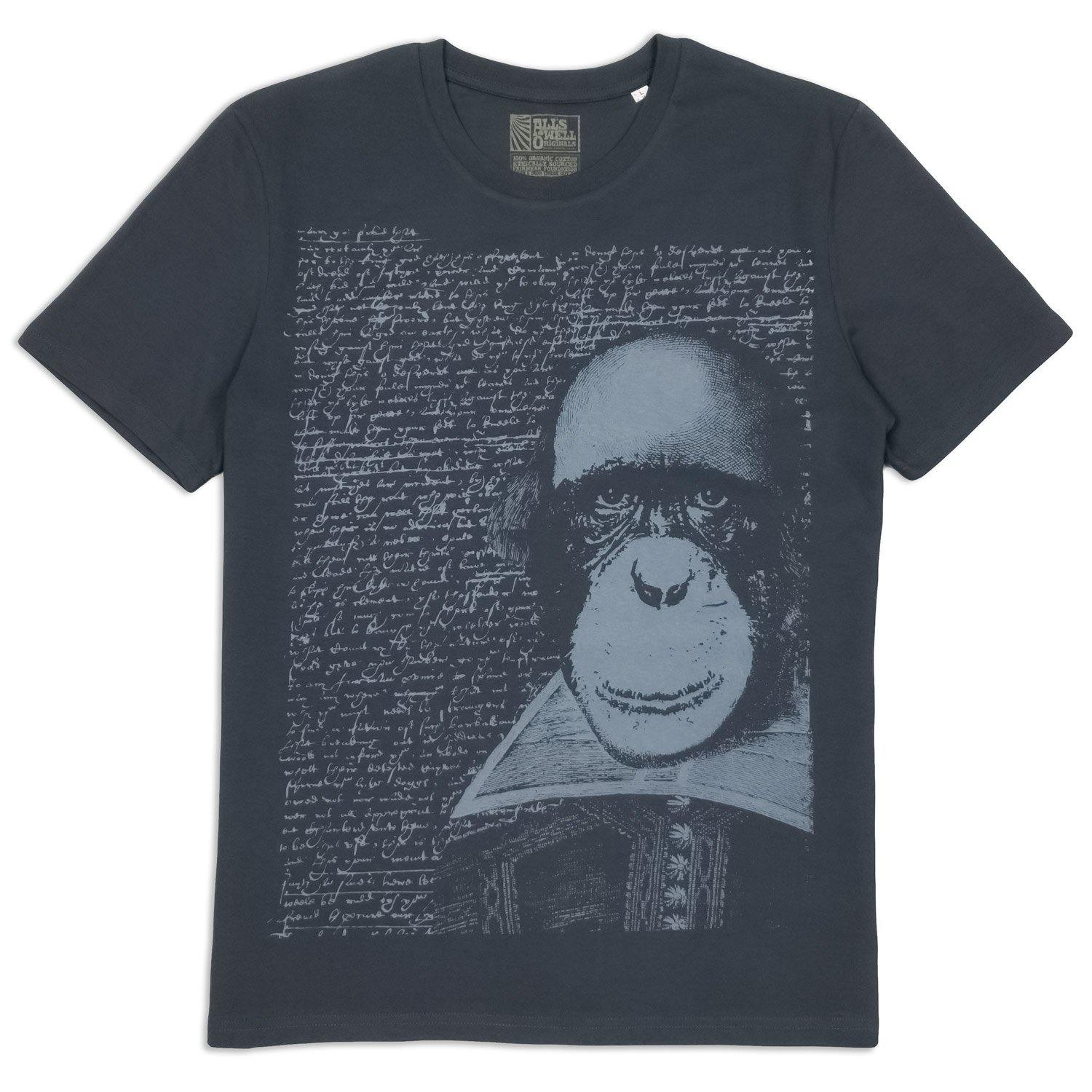 Apespeare Shakespeare t-shirt hand printed 100% organic cotton t-shirt