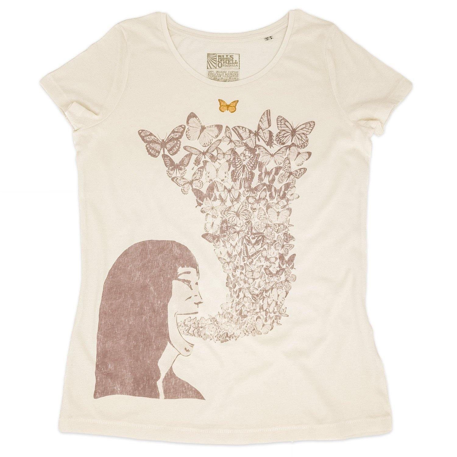 Butterfly t-shirt hand printed 100% organic cotton t-shirt