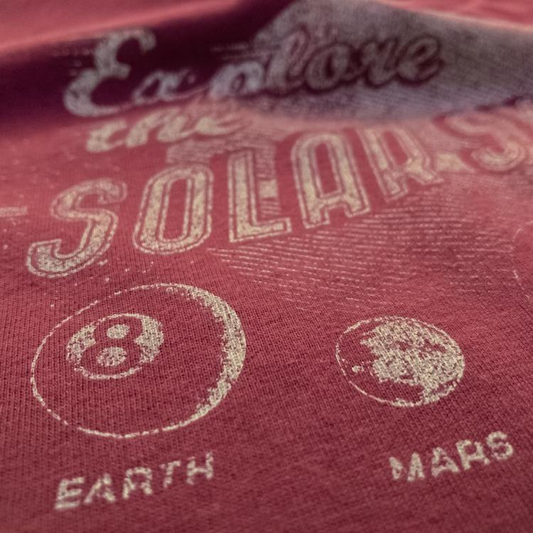 Explore the Solar System t-shirt hand printed organic cotton t-shirt