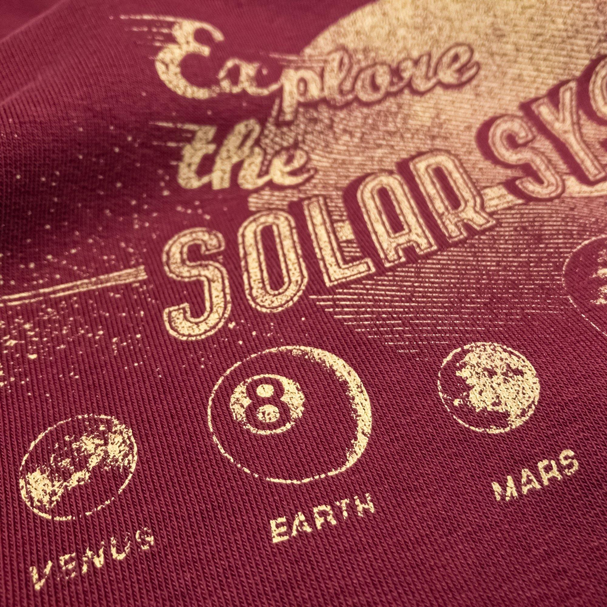 Explore the Solar System sweatshirt hand printed organic cotton sweatshirt