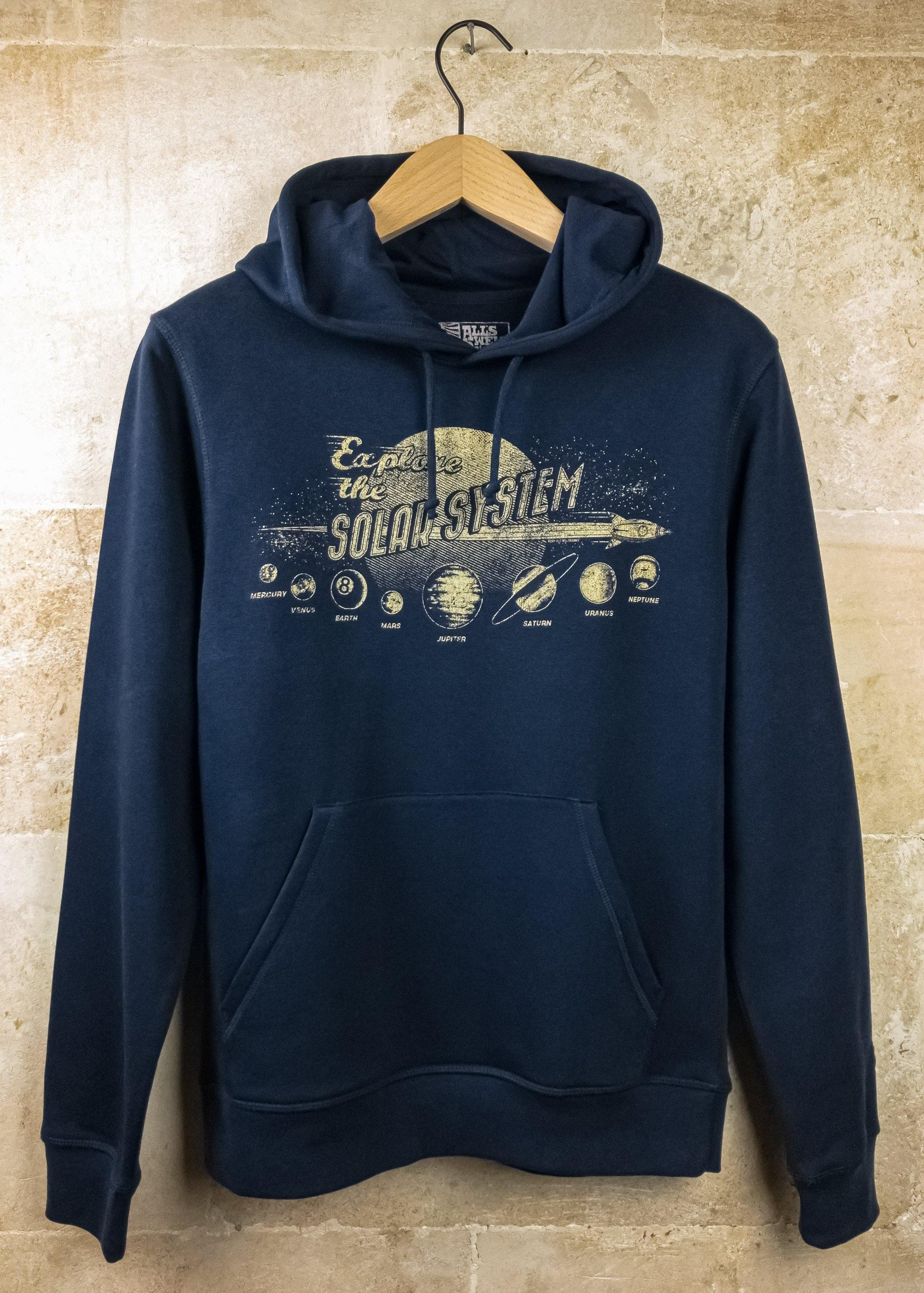 Explore the Solar System hoodie hand printed organic cotton hoodie