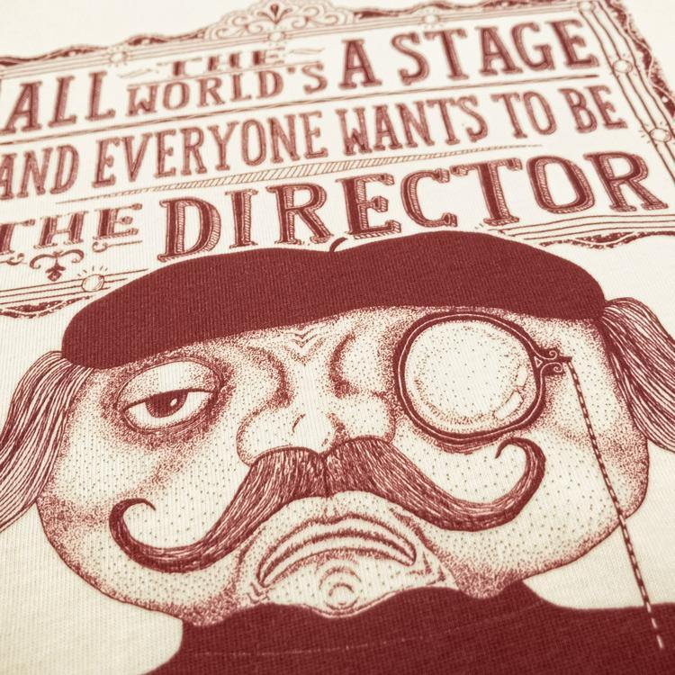 The Director show business t-shirt hand printed organic cotton t-shirt