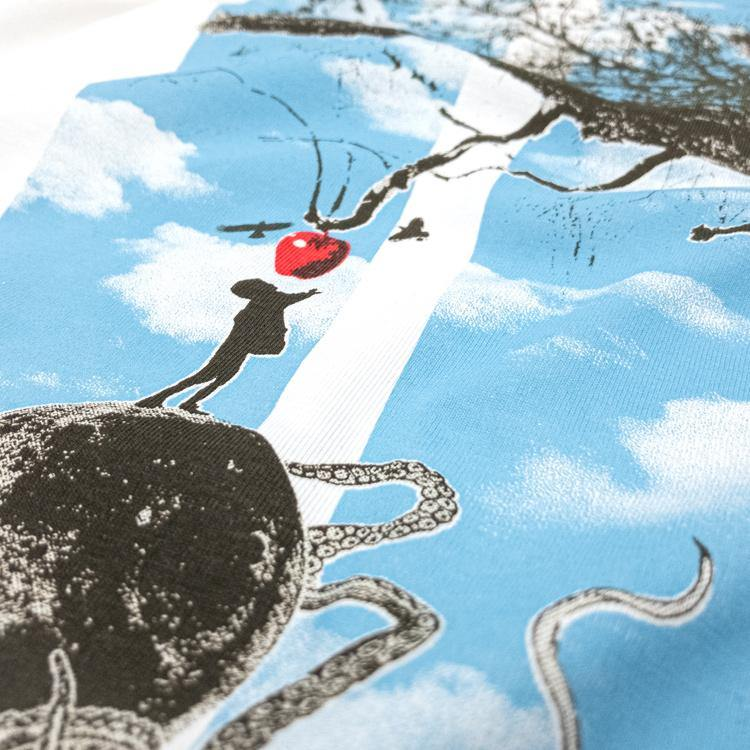Temptation. Sci-fi tree t-shirt hand printed organic cotton t-shirt