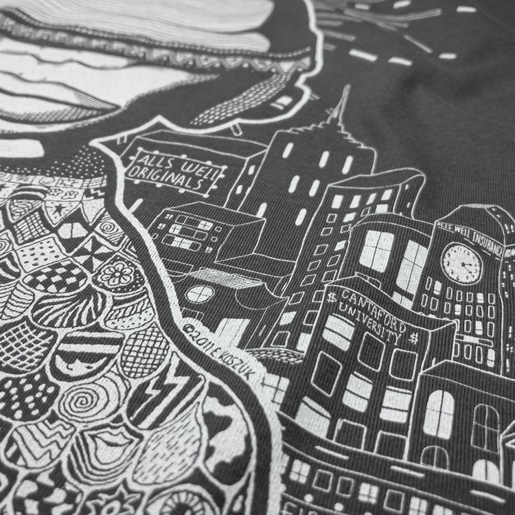 Bliss. Urban escape t-shirt hand printed 100% organic cotton t-shirt