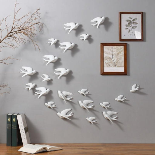 3D Ceramic Birds Murals Wall Sticker - LuxVerve