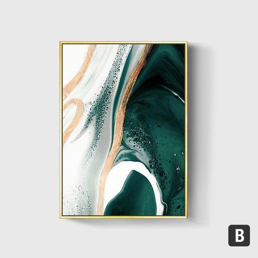 Modern Abstract Gold foil lines Green Canvas Art - LuxVerve