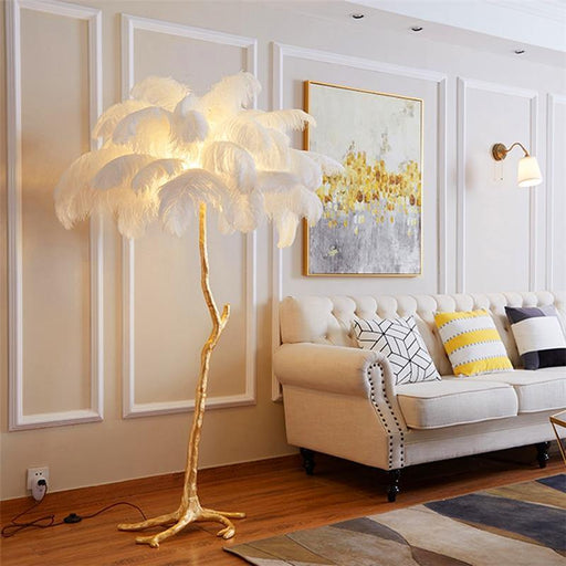 Nordic Ostrich Feather LED Floor Lamp - LuxVerve