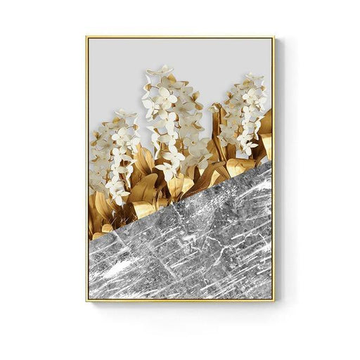 Nordic Golden abstract leaf flower Wall Art - LuxVerve