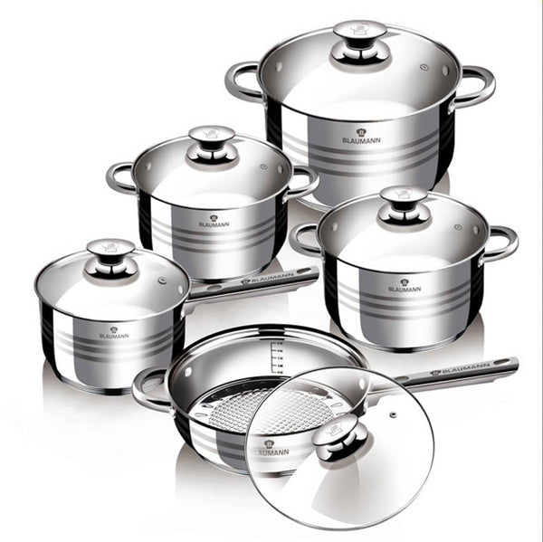 Cookware Set, 10-Piece Jumbo Stainless Steel Gourmet Cookware Set by Blaumann