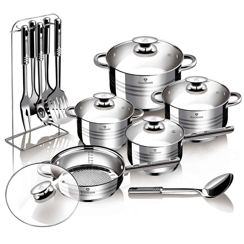 Stainless Steel 17-Piece High-Quality Gourmet Line Cookware Set by Blaumann