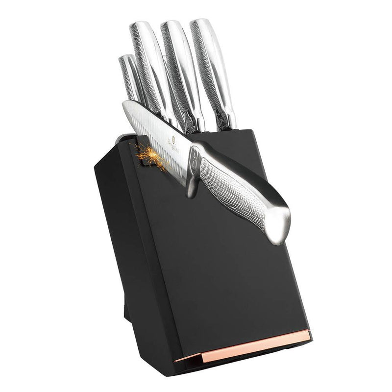 Berlinger Haus 8 pcs Knife Set With Stand, Black Rose Collection