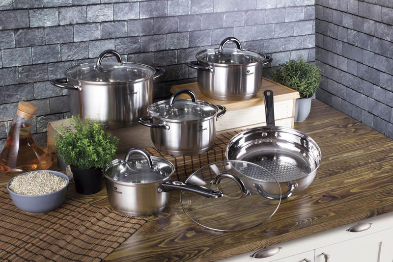 Blaumann Stainless Steel W/ black cookware 10 pcs set, Gourmet Line