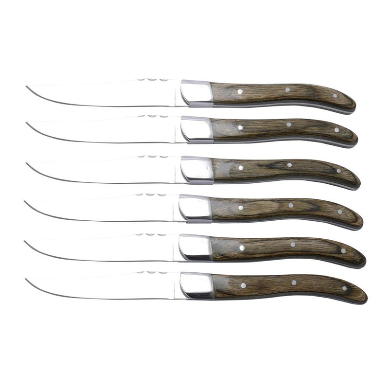Berlinger Haus 6 pcs Steak Knife With Antique Wood Handle Laguiole By Berlinger Haus