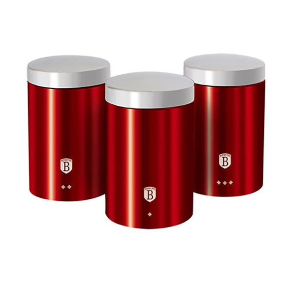 3-Piece Kitchen Canisters Set Stainless Steel Burgundy by Berlinger Haus