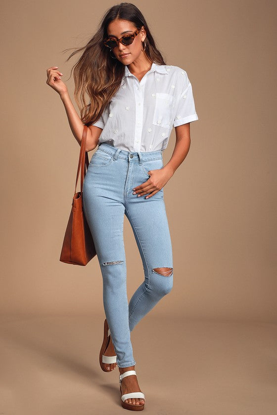 Sky blue Super Fit Ripped High Waist Jeans