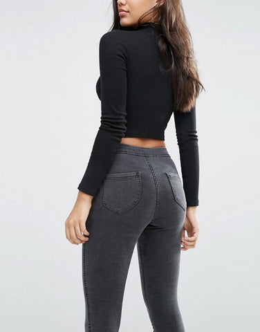 Super Skinny Charcoal Grey High Waist Denims