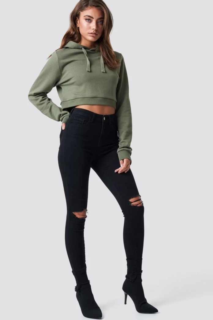 Slayer Ripped High Waist Black Skinny Jeans