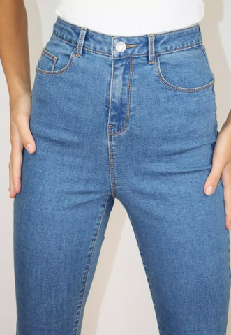 Aqua Blue Skin Fit High Waist Jeans