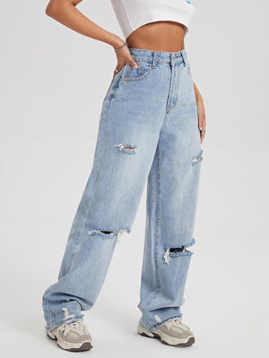 Wash Distressed Wide Leg Jeans