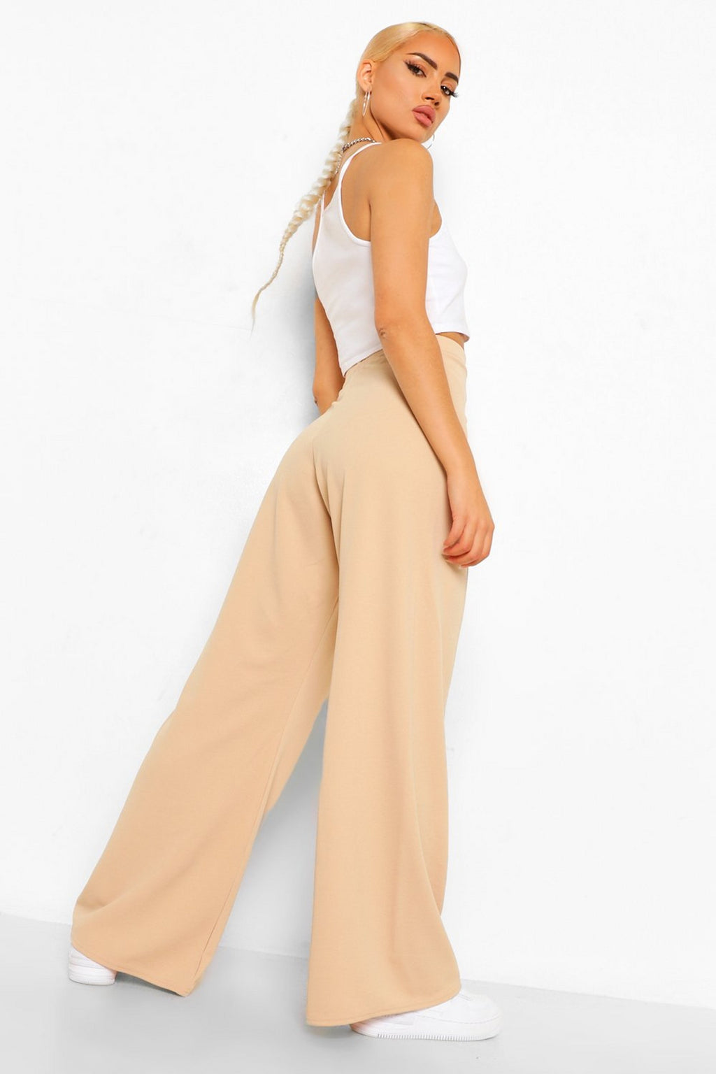 Pleated Nude Wide Leg Pants