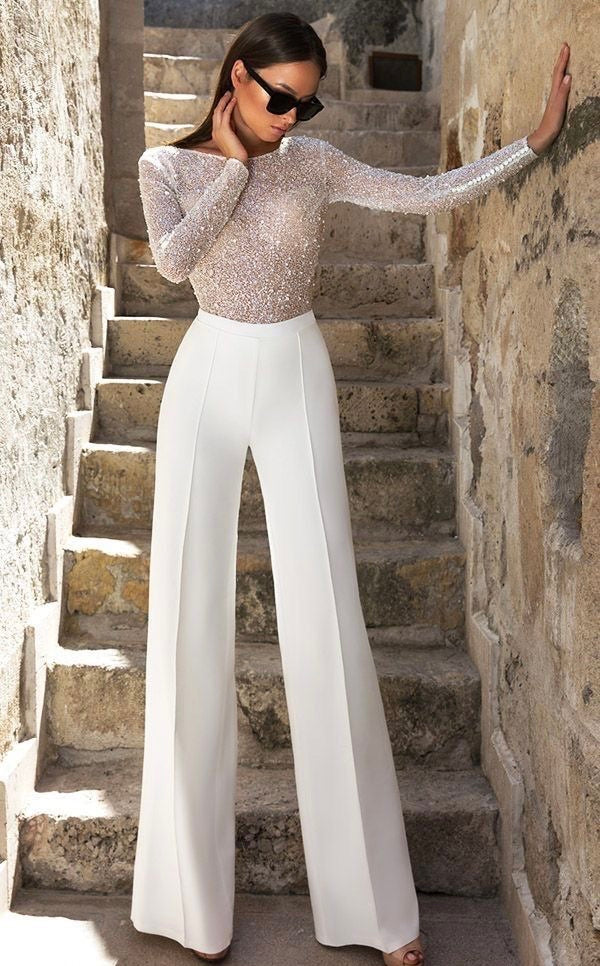 Pleated White Wide Leg Pants