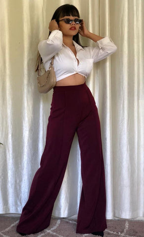Pleated Wine Wide Leg Pants