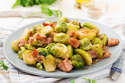 BBQ GLAZED SMOKED BRUSSELS SPROUT WITH BACON