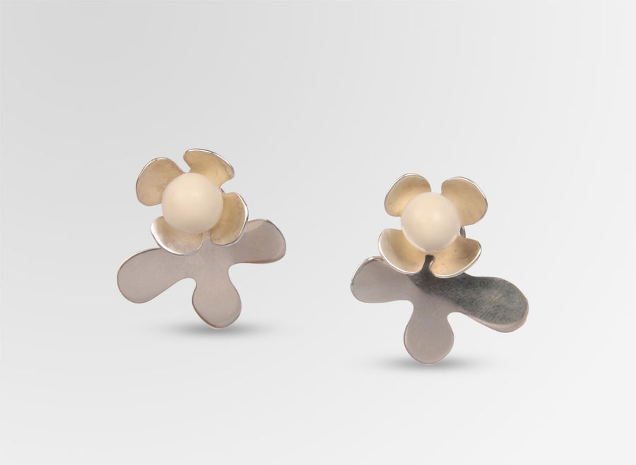 Silver Orchid Petal Earrings - Cream