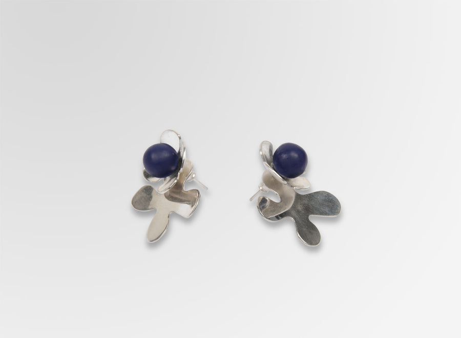 Silver Orchid Petal Earrings - Dark Navy