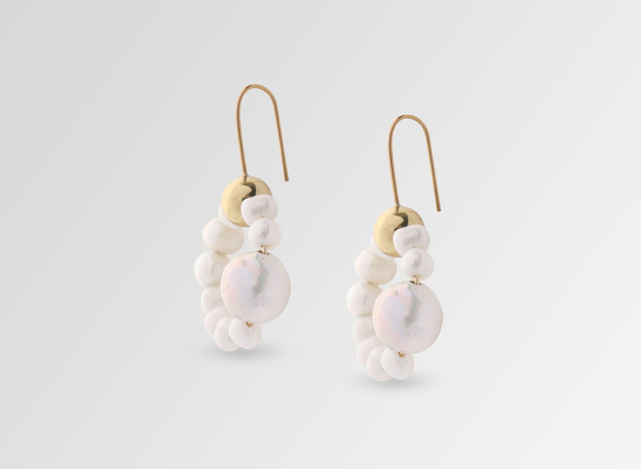 Organic Pearl Hoop Earrings