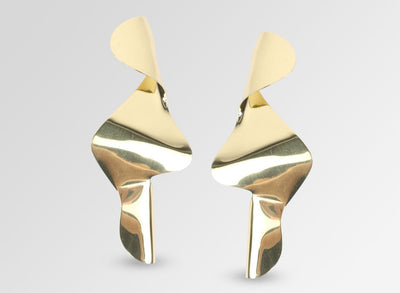 Louise Olsen Large Fold & Flow Earrings - Brass