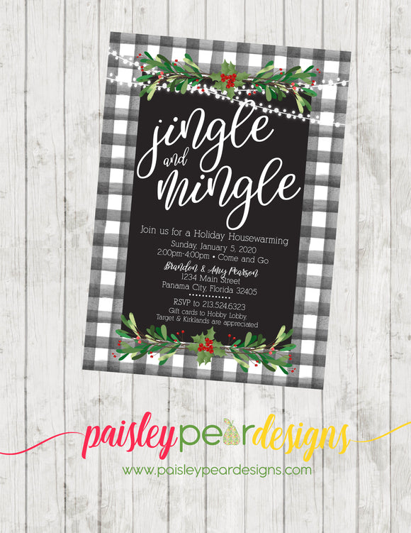 Jingle and Mingle Buffalo Plaid - Christmas Party Invitation