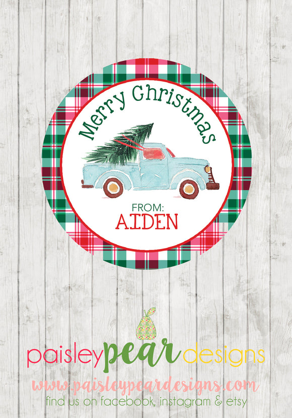 Truck and Tree - Christmas Treat Tags