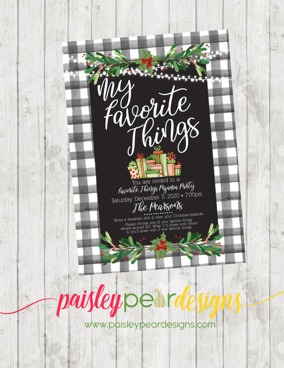 My Favorite Things - Christmas Party Invitation