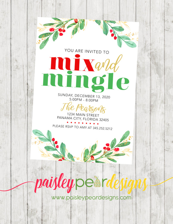 Mix and Mingle - Christmas Party Invitation