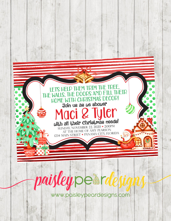 Christmas Wedding Decor Shower - Christmas Party Invitation