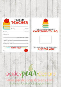 For My Teacher Fill-in Gift Card Sheet  - Teacher Appreciation Tags