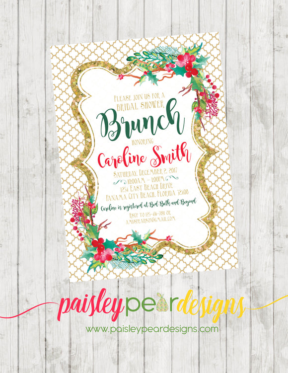 Gold Holly Brunch - Christmas Party Invitation