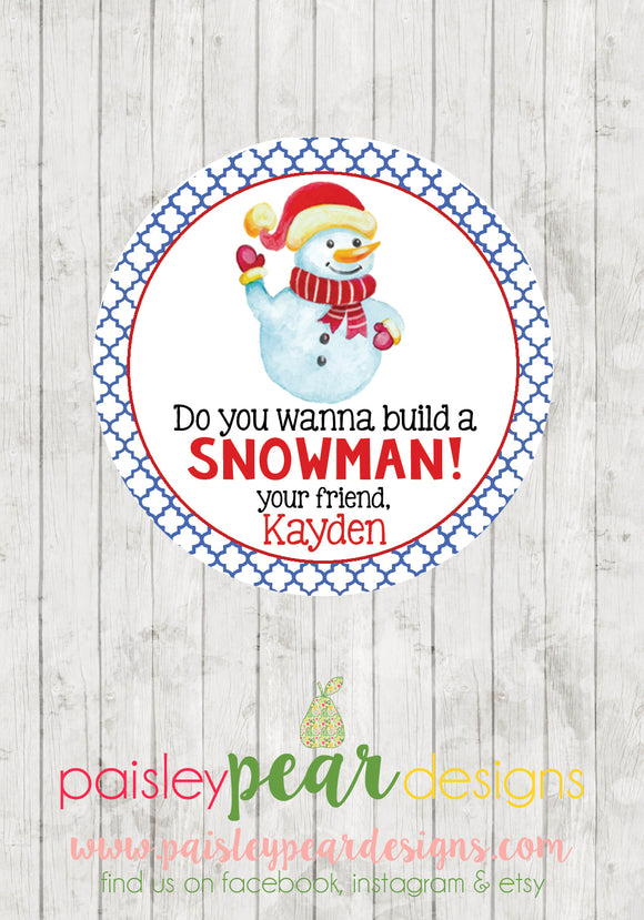 Build a Snowman - Christmas Treat Tags