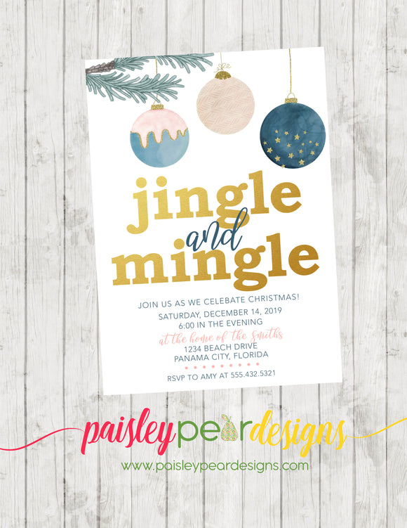Jingle and Mingle Ornament - Christmas Party Invitation