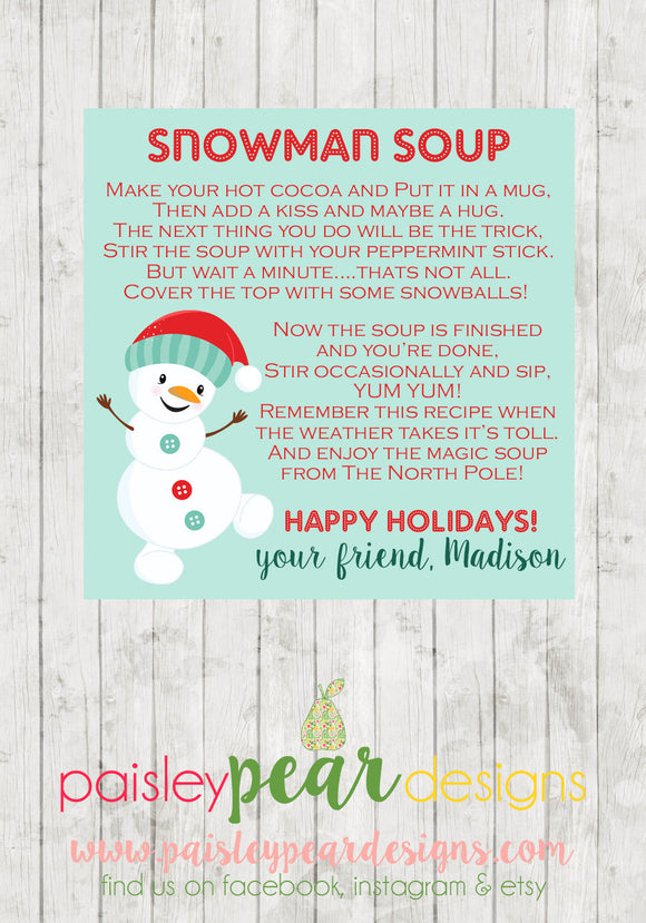Snowman Soup - Christmas Treat Tags